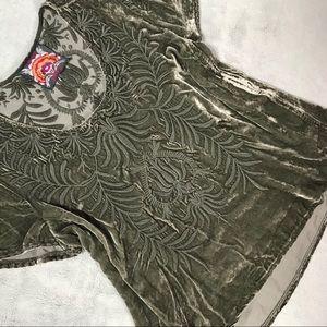 Johnny Was Saskia Embroidered Flutter Velvet Top